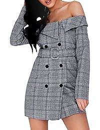 8f2f6a734651 Glamaker Women's Off Shoulder Long Sleeve Button Down Blazer Dress
