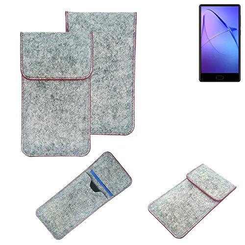 K-S-Trade® Filz Schutz Hülle Für -Leagoo KIICA Mix- Schutzhülle Filztasche Pouch Tasche Case Sleeve Handyhülle Filzhülle Hellgrau Roter Rand