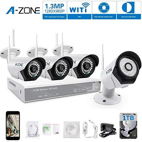 A-ZONE 4CH Kit Videovigilancia Exterior 4 x 960P 1.3MP