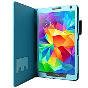 CaseGuru Premium Folio / Case Cover / with Magnetic Clasp and Integrated Flip Stand Function for Samsung Galaxy Tab S 8.4 - Sky Blue + Free Stylus Included