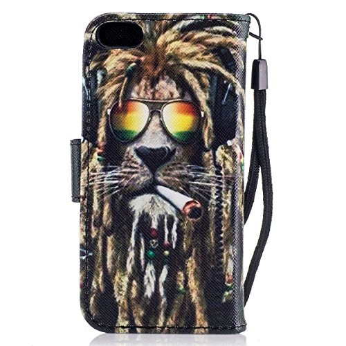 Custodia iPhone 5S cover iPhone 5 case iPhone SE,Ukayfe Stitching Colore Flip Case Cover per iPhone 5S,iPhone 5 iPhone 5S iPhone SE Lussuosa Astuccio Custodia Cover [PU Leather] [Shock-Absorption] Pro Leone 2#
