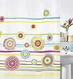 Spirella Anti-Schimmel Duschvorhang Salinas Anti-Bakteriell, Waschbar, Wasserdicht Textil 180x200cm Bunt Weiß