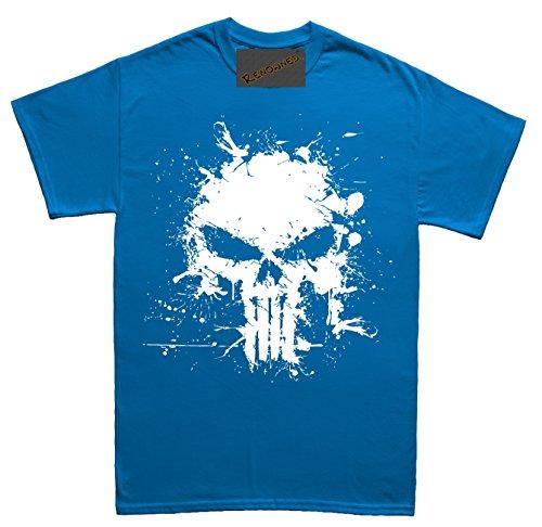 Renowned Death Skull Splatter Effect Paint Unisex - Kinder T Shirt Blau