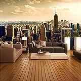 Wandgemälde Tapete-Rollen-Stadt-Ansichten Des Kundenspezifischen Wandbildes 3D Wohnzimmer-Sofa-Hintergrund-Ausgangsdekorationseidentapeten-Wandverkleidung,60Cm(H)×120Cm(W)