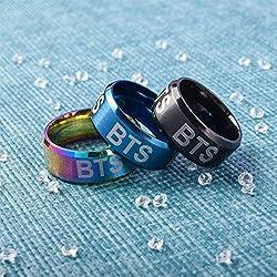 DJHFJ Anillo BTS Bangtan Boy BTS Rap Monster BTS Jimin BTS Jin BTS Suga BTS Jungkook BTS Koya BTS V BTS J Hope Láser/Fluorescente / Anillo de DiamantePara los fanáticos de BTS 1 PC (Negro)