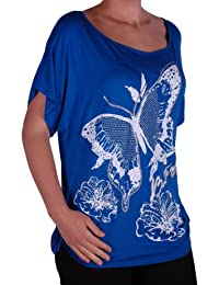 EyeCatch - Womens Large Butterfly Motif Ruched Short Sleeve Top Plus Size