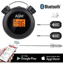 AGM Termómetro de Barbacoa, Termómetro Digital inalámbrico Bluetooth para Cocina con Control Remoto, Sondas de Acero Inoxidable y Alarma para Carne, BBQ, Cocina
