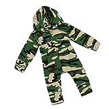 Bekleidung Longra Baby Strampler, Baby Jungen Mädchen Camouflage Langarm Bodysuit mit Kapuzenpullover Overall Outfit (0-24 Monate) (100CM 18-24Monate, Camouflage)