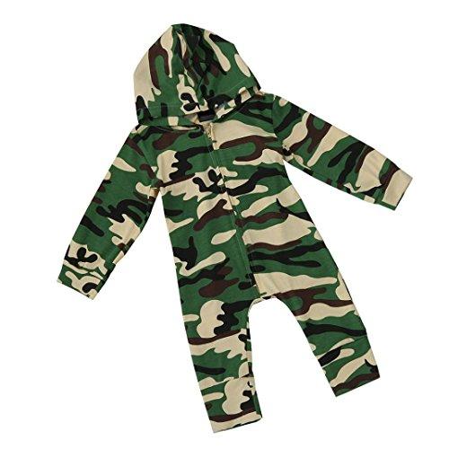 Baby Strampler, Bekleidung Longra Baby Jungen Mädchen Camouflage Langarm Bodysuit mit Kapuzenpullover Overall Outfit (0 -24 Monate) (80CM 6-12Monate, Camouflage)