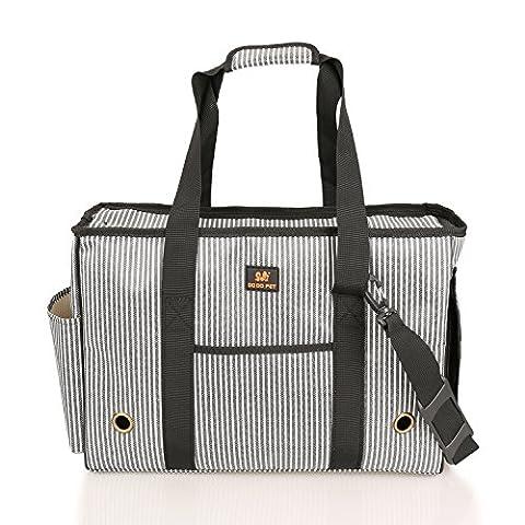 BIGWING Style Carrier Dog Handbag Dog Purse Tote Bag Pet Cat Dog Hiking Backpack-Stripe-L