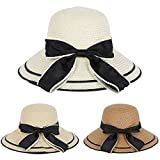 #6: Esixc Women Straw Sun Hat Foldable Wide Brim Bowknot Beach Cap