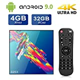 TV Box Android 9.0 A95X 4GB+32GB Bluetooth 4.2 RK3318 Quad-core Cortex-A53 CPU 2.4G/5GHz WiFi Ethernet LAN100M H.265 Android 9.0 Smart TV Box