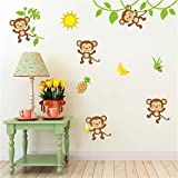 Rainbow Fox mono pegatinas de pared animal Pegatina de pared para vivero y Niños habitación decoración