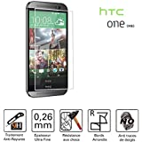 TM-Concept à Film /Vitre de protection écran - HTC One M8 - Verre Trempé HQ Crystal Ultra résistant (incassable, inrayable 9H) et Ultra Slim (0,26mm) avec bords arrondis - pour une protection et un confort d'utilisation max !