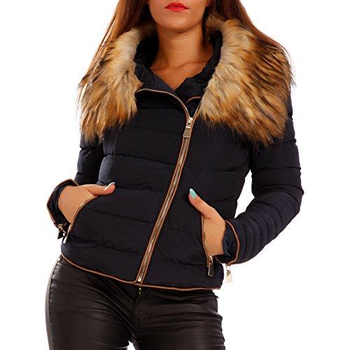 Young-Fashion - Blouson - Veste damassée - Uni - Col Mao - Manches Longues - Femme Marine
