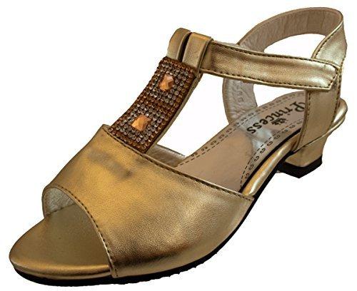 Or Fille Ou Blanc Chaussures Mariage Demoiselle d'honneur été Velcro Talon Bas Taille De Sandales UK 7 - 3 Or