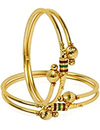 Shreyadzines Gold Plated Self Design Enamel Work Bangle Set For Women And Girls (Size : 2.6)