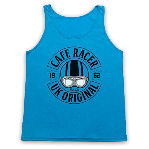 Cafe Racer UK Original Motorcycle Ton Up Tank-Top Weste Neon Blau
