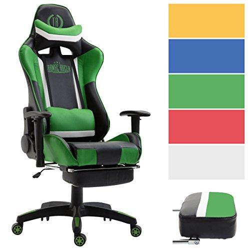 Preisvergleich Produktbild CLP Bürostuhl Jerez mit Kunstlederbezug,  max. belastbar bis 136 kg,  Gaming Stuhl mit / ohne Fußablage,  Chefsessel mit Wippmechanismus,  höhenverstellbar,  Schwarz / Grün,  mit Fußablage