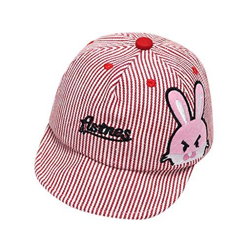 CCIKun Baby Kinder Mütze Junge Baseball Cap Hut Streifen Schirmmütze Sonnenhut Strandhut Sommerhut Sonnenschutz Kappe(rot,Einheitsgröße)