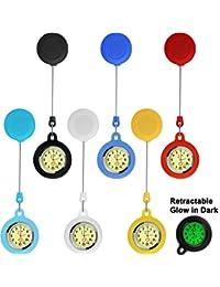 6 Pezzi Infermiere Orologio Taschino Clip Orologio Retrattile Bagliore in Scuro Orologio Unisex Con Batteria per Paramedico Infermieri Medici (Colore Assortito)