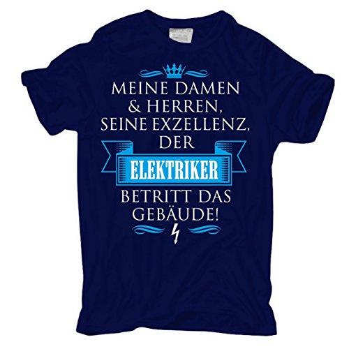 Männer und Herren T-Shirt Seine Exzellenz DER ELEKTRIKER Dunkelblau