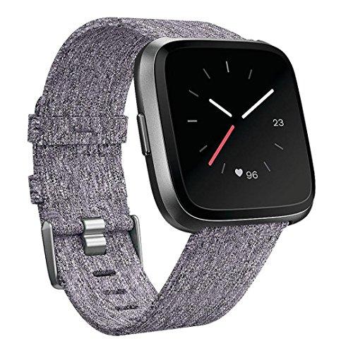 Uhrenarmband für Fitbit Versa,VNEIRW Gewebe Ersatz Watchband Strap Amazfit Armband Ersatzarmband Uhrenband Uhrenarmbänder für Herren Damen (Bandlänge: 215mm, Band breit: 23 mm, Grau)