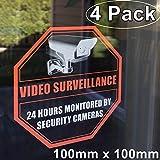 anteriore autoadesiva in vinile trasparente esterno/interno (4pezzi) 100mm x 100mm Home Business Security DVR CCTV sistema di videosorveglianza porta finestra di allarme attenzione adesivo decalcomanie