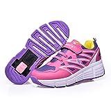 Homesave Kinder Schuhe mit Rollen Skateboard Schuhe Roller Skate Schuhe Sportschuhe mit Rollen für Mädchen Jungen,Pink,30EU