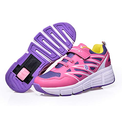 Homesave Kinder Schuhe mit Rollen Skateboard Schuhe Roller Skate Schuhe Sportschuhe mit Rollen für Mädchen Jungen,Pink,35EU