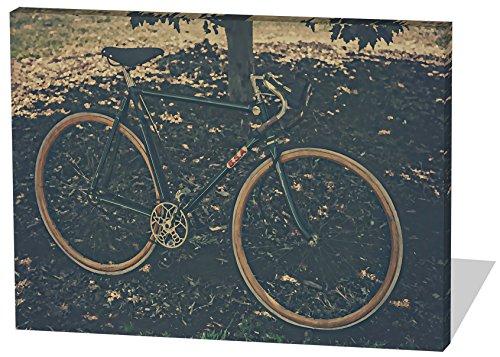 Vintage Bike, Gemälde Effekt, schönes und hochwertiges Leinwandbild zum Aufhängen in XXL - 100cm x 70cm, echter Holzrahmen, effektiver Pigmentdruck, modernes Design für Ihr Büro oder Zimmer (Thriller Kostüm Für Verkauf)