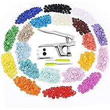 Bottoni a Pressione (300 di kit) e Pinze in Metallo, Aodoor Bottoni 20 Colori T5 Automatici in Plastica Snap pulsanti plastica Kit Scrapbook fai da te cucito panno pannolini Baby bavaglini pulsanti
