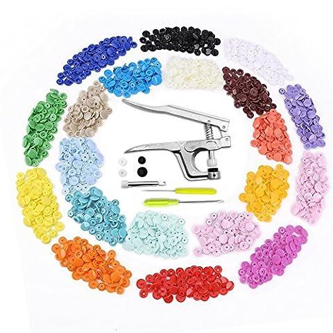 Aodoor Pince + Bouton pression Plastiques T5 (300pcs) 12mm En 20 Couleurs, Pression Kit de Pince Universel En Métal PourT3 T5 T8 de couture de bricolage et projets d