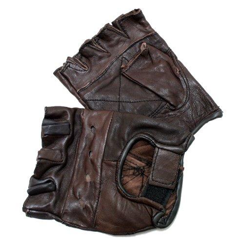 Perrini braun Leder Finger Weniger Handschuhe L braun -