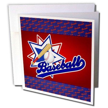 3drose Baseball Thema in blau, rot und weiß für Jungen und Sport-Karten, 15,2x 15,2cm Set von 6(GC 127594_ 1)
