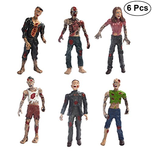 LUOEM 6PCS Walking Dead Zombie Dolls modelos estáticos figuras juguetes de Halloween Navidad regalo de cumpleaños para niños