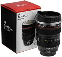 Super Classic Camera Lens Shaped Coffee Mug with Lid, 350 ml, Black (MUG_001)