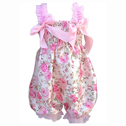Price comparison product image SODIAL(R) Newborn Infant Baby Girl Floral Ruffle Rompers Dress One-Piece Tutu Lace Clothes Bust 32-56cm length 50cm.