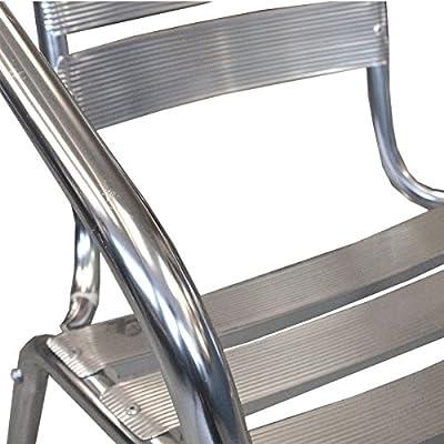 3tlg Balkonmöbel Terrassenmöbel Bistro Set Aluminium Bistrostuhl Stapelstuhl Alu Bistrotisch Ø60cm Tischplatte Schleifoptik Sitzgruppe Sitzgarnitur