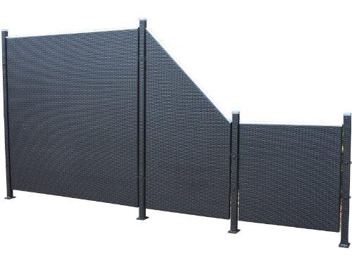 Prime Tech Poly-Rattan Sichtschutz / Zaun, Set 7-teilig in schwarz