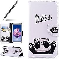 Uposao Handyhülle für Huawei P Smart Handytasche Retro Muster Leder Flip Case Cover Tasche Ledertasche Lederhülle Bookstyle Klapphülle mit Kartenfach Magnetverschluss,Schwarz Panda