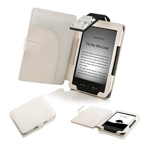 Kindle Hülle Generation Amazon 4. (ForeFront Cases Leder Schutzhülle Cover Wallet mit LED Leselicht für Amazon Kindle 4 – schwarz _ P)