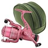 CKR30 Carp Coarse Free Spool Pink Fishing Reel with Rear Drag and Reel Case Set