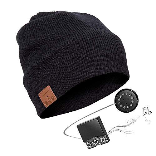 Bluetooth Hut,Unisex Bluetooth Mütze Waschbare Bluetooth Beanie Hut Drahtloser Music Cap mit Stereo Bluetooth Kopfhörer und Freisprecher Telefonbeantwortung Kompatibel mit Android und iOS (Nero)