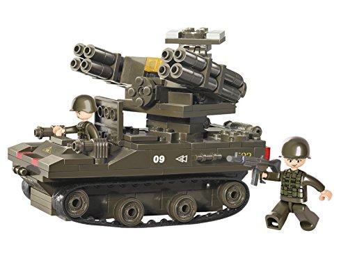 Funstones - Baustein Set Army Armee Ketten Panzer + Raketenabwehr Geschütz + Soldaten Bausteine Bausatz Set