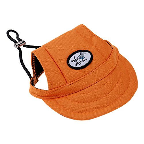 Generic Pet Dog Cat Kitten Letter Baseball Hat Neck Strap Cap Sunbonnet S Orange