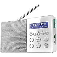 Hama Digitalradio DR10 (DAB+/DAB und FM, Je 30 Favoritenspeicherplätze, Sendersuchlauffunktion, Betrieb über Netzteil oder Batterien) weiß