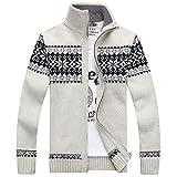 YKENSOT Herren Winter Pullover Schneeflockenmuster's Pullover Männer Casual Cardigan Dicker Wolle Jacke Beige XXXL