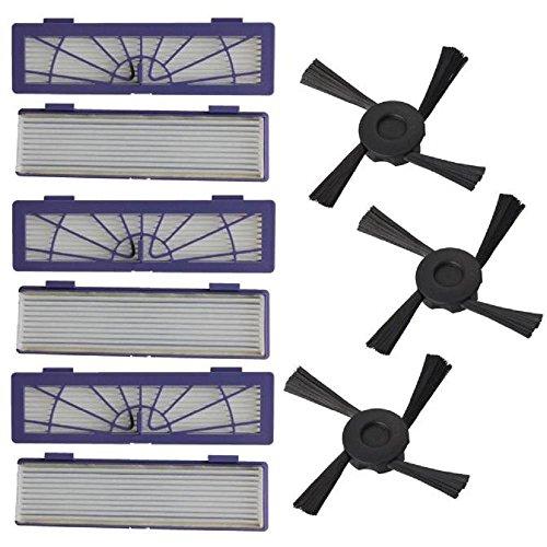 6PC Filter + 3PC Seitenbürsten Ersatz für Neato Botvac 70e 75 80 85 Serie Vakuum Reinigung Ersatzteil-Kit, Staubsauger Zubehör Ersetzten - Teppich Extractor Kit