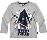 Star Wars Langarmshirt Jungen Shirt Rundhalsausschnitt (Grau, 116)